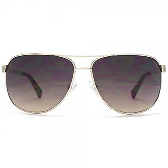 SUUNA Turin Groove Temple Pilot Sunglasses In Brushed Pale Gold