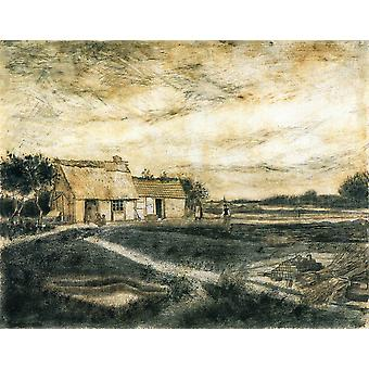 Vincent Van Gogh - Barn with Moss-Covered Roof, 1881 Poster Print Giclee