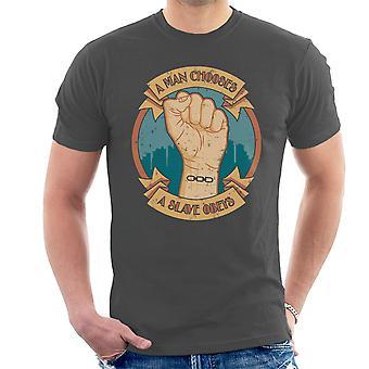 En mand vælger en Slave adlyder Bioshock mænd T-Shirt