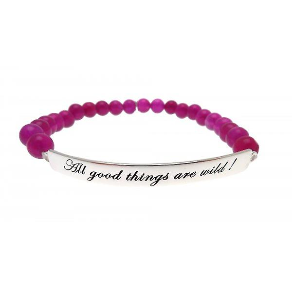 W.A.T 925 Sterling Silver 'All Good Things Are Wild' Purple Jade Quote Bracelet