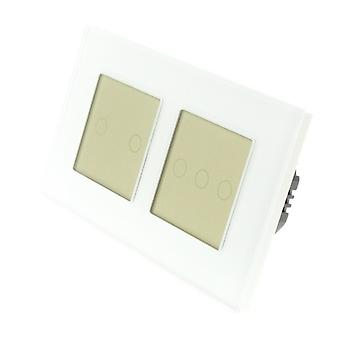 I LumoS White Glass Double Frame 5 Gang 1 Way WIFI/4G Remote Touch LED Light Switch Gold Insert