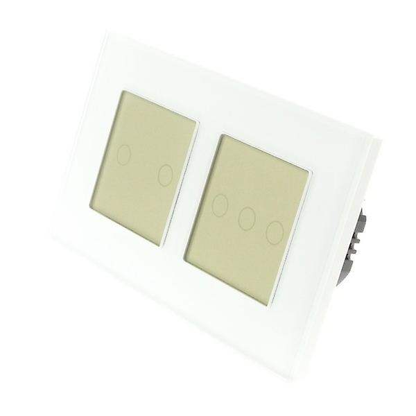 I LumoS blanc Glass Double Frame 5 Gang 1 Way Touch LED lumière Switch or Insert
