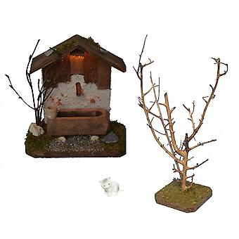 Fountain House with lighting with tree and cat for Nativity scene Christmas Nativity stable Nativity accessories