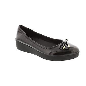 FitFlop Superbendy Ballerina - Black Patent (Man-Made) Womens Shoes
