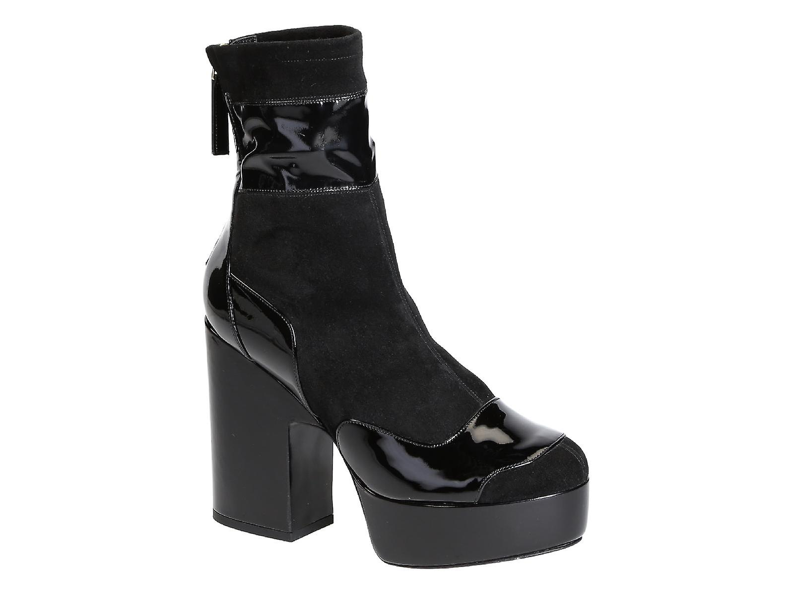 Hardy high leather midcalf black heels booties in Pierre Suede dSFwqd