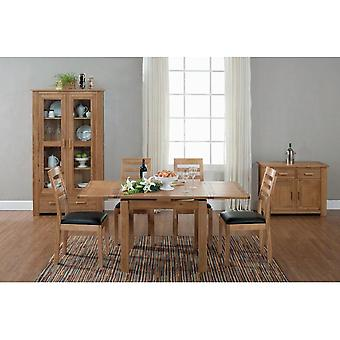 Direct Home Living Contemporary Oak Small Draw Leaf Table With 4 Chairs Bundle