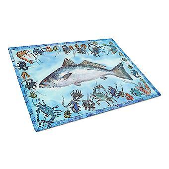 キャロラインズ宝物 8086LCB 魚 Speckled マス ガラス カッティング ボード大