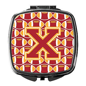 Letter X Football Cardinal and Gold Compact Mirror