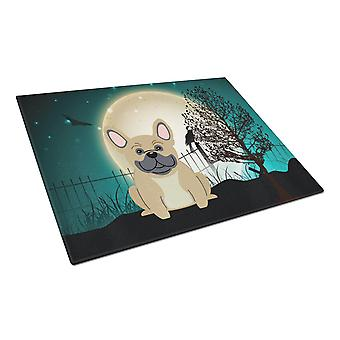 Halloween Scary French Bulldog Cream Glass Cutting Board Large