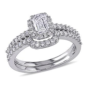 1.0 Carat (ctw Color H-I Clarity I2-I3) Emerald Cut Diamond Halo Engagement Ring & Wedding Band Set in 14K White Go
