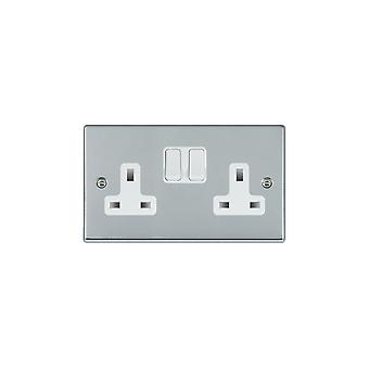 Hamilton Litestat Hartland Bright Chrome 2g 13A DP Switched Socket WH/WH