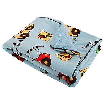 Baby Boys Driving Dog Paw Print Design Wrap Blanket With Soft Fleece Backing