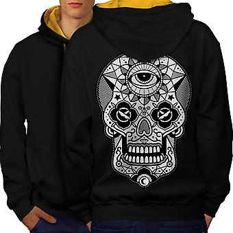Eye Skull Head Men Black (Gold Hood)Contrast Hoodie Back | Wellcoda