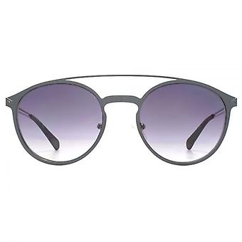 Guess Metal Keyhole Double Bridge Round Sunglasses In Matte Gunmetal