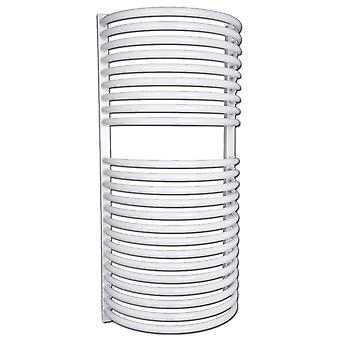 Heated Bathroom Towel Rail Radiator - Curved White - H940 x W460mm