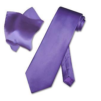 Biagio Solid 100% siden halsduk & näsduk mäns hals slips Set