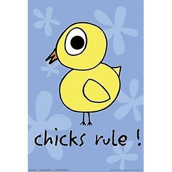 Damer regelen - kylling plakatutskrift plakat