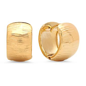 Ladies 18K Gold Plated Stainless Steel Stripe Hammered Huggie Earrings