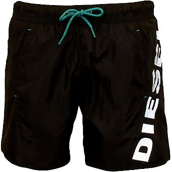 Diesel Twisted Side Logo Swim Shorts, Black
