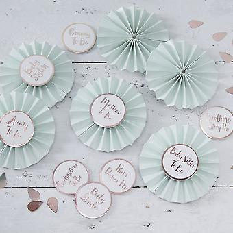 Baby Shower Badges in Mint & Rose Gold - Hello World - 6 Badges