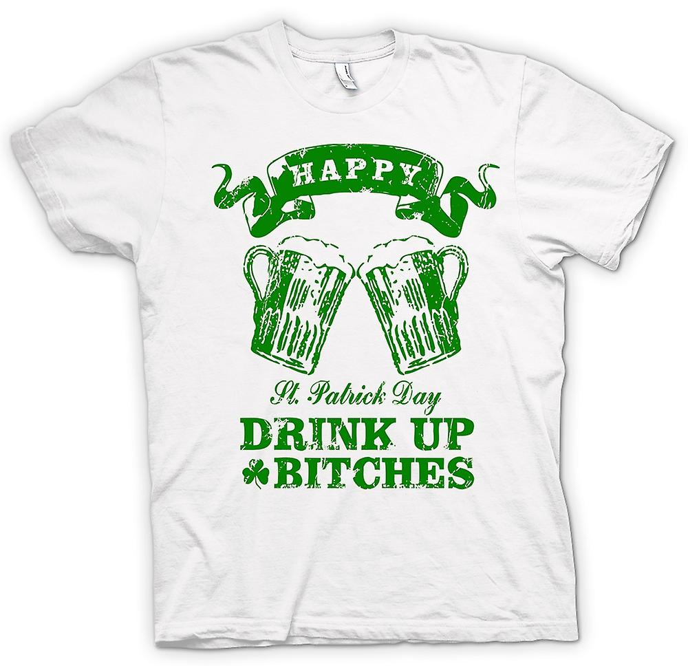 Heren T-shirt-St Patricks Day drankje omhoog Bitches - Funny
