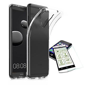 Silikoncase Transparent + 0,3 H9 Hartglas für Huawei Mate 10 Pro Tasche Hülle Neu