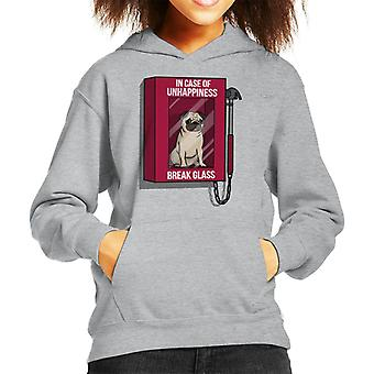 Pug In Case Of Unhappiness Break Glass Kid's Hooded Sweatshirt