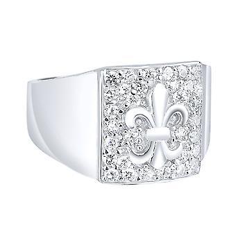 Anello pavè di argento 925 - Fleur de lis