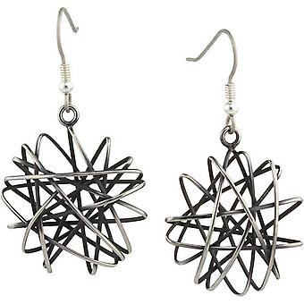 Ti2 Titanium Large Round Cage Chaos Hook Earrings - Black