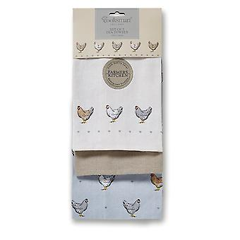 Cooksmart 3 Pack Tea Towels, Farmers Kitchen
