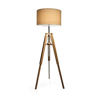 Ideal Lux Klimt Tripod Wooden Floor Lamp With Drum Shade