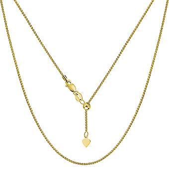 14 k amarillo oro trigo ajustable collar de cadena, 1,0 mm, 22