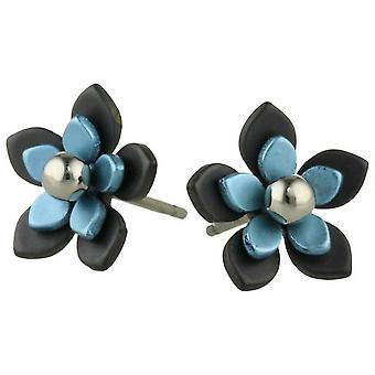 Ti2 titânio preto de volta cinco pétalas flor brincos - céu azul