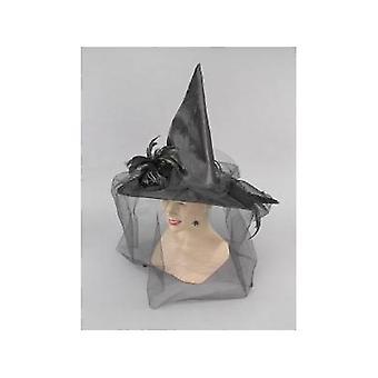 Chapéu bruxa Bnov com penas e pano preto