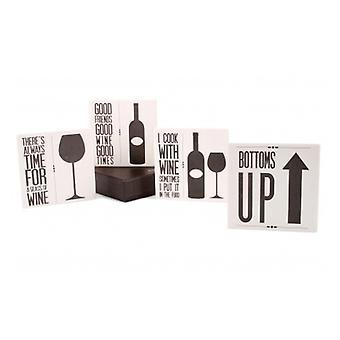 Set of 4 Wine Slogan Coasters with Wooden Holder