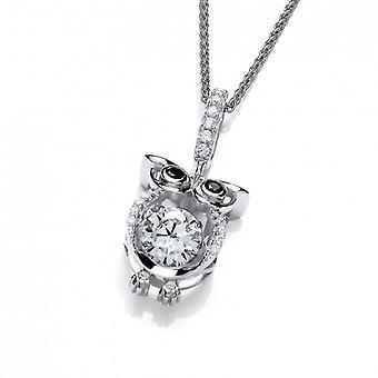 Cavendish francese Cute Owl CZ con balli pietra pendente con catena