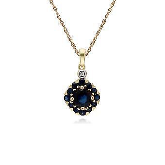 Gemondo 9ct Yellow Gold Sapphire & Diamond Square Cluster Pendant on 45cm Chain