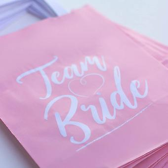 Team Bride Pink Handled Hen Party Bags Set of 10