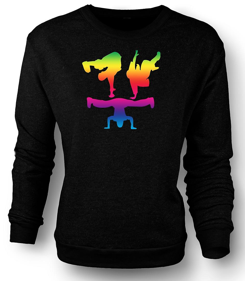 Mens Sweatshirt Break Dance Moves - Rainbow