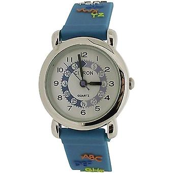 Citron Analogue Boys Time Teacher ABC Alphabet Blue Silicone Strap Watch KID015