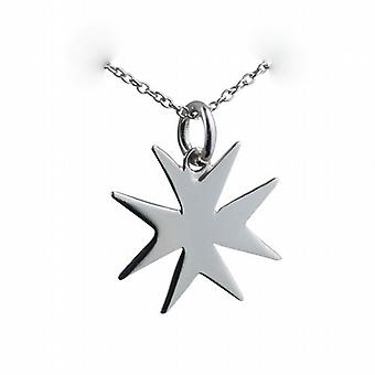 Silver 18x17mm plain Maltese Cross with a rolo Chain 20 inches