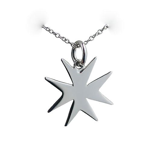 Silver 18x17mm plain Maltese Cross with a rolo chain
