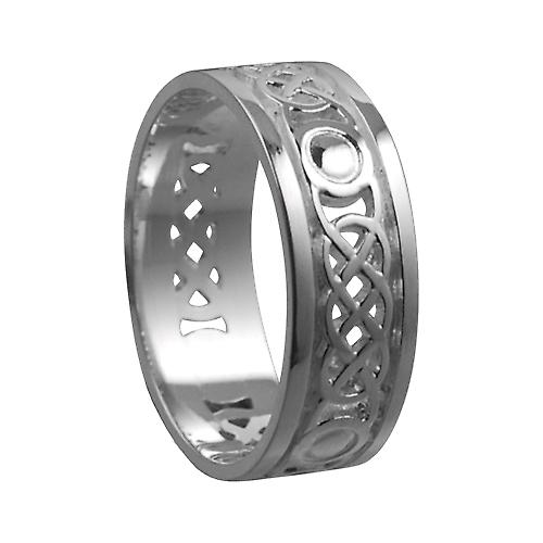 Silver 8mm pierced Celtic Wedding Ring Size Z+1