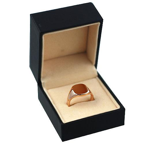 9ct Rose Gold 12x10mm solid plain cushion Signet Ring Size M