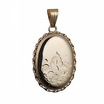 9ct Gold 29x22mm half hand engraved flowers oval twisted wire edge Locket