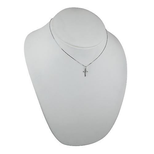 9ct White Gold 15x9mm hand engraved solid block Cross with a curb Chain 16 inches Only Suitable for Children