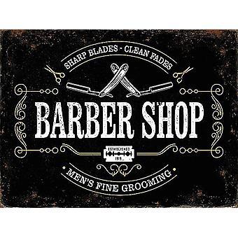 Barber Shop Sharp Blades, Clean Fades 90mm x 65mm fridge magnet  (og)