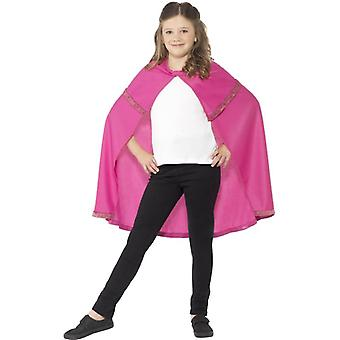 Girls Pink Superhero Cape Fancy Dress Accessory
