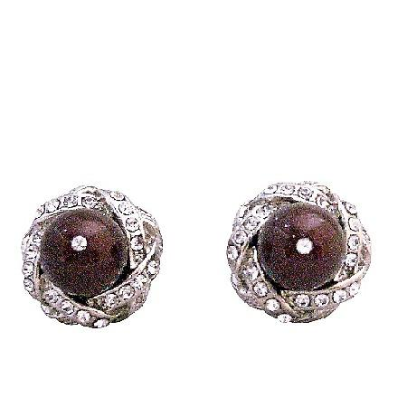 Maroon Swarovski Pearl Cubic Zircon Stud Post Prom Earrings