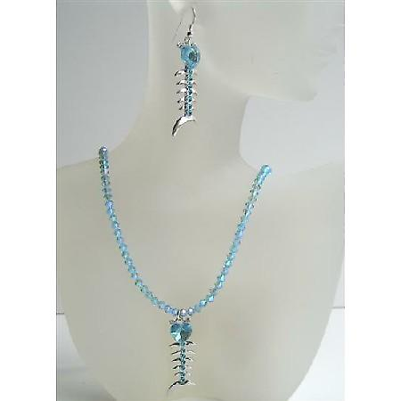 Aquamarine Swarovski AB Aquamarine Crystals Jewelry Heart Fish Pendant